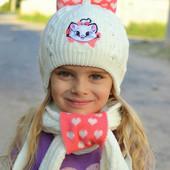 Комплект для девочки (шапка+шарф+муфта). Зима. р. 46-50 и 50-54.