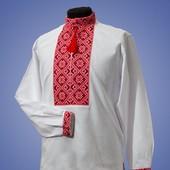 Мужская вышитая рубашка вышиванка с классическим узором синяя и красная