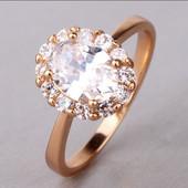 Кольцо покрытие золото с цирконами р16.5,17.5,18.5
