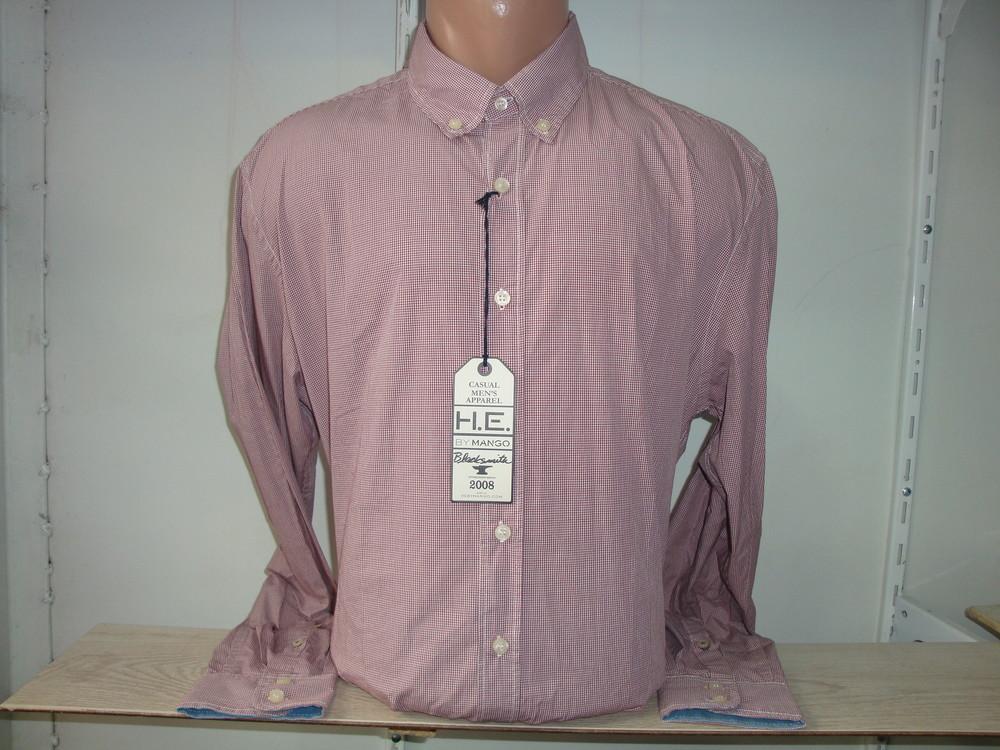 Мужская рубашка с длинным рукавом в клетку mango. фото №1