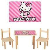 Детский столик деревянный f061, 2 стульчика,Hello Kitty