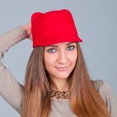 7-64-1 Женская кепка/ фетровая Шляпка-жокейка с ушками/ Модная и стильная шляпка цвет - красный