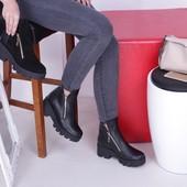 Женские кожаные/замшевые ботинки на высокой подошве, осень, зима