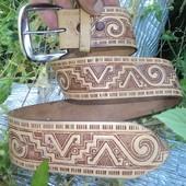 Фирменный кожаный ремень пояс Мая Мексика .90 см