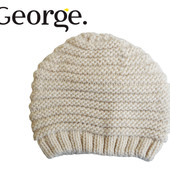 Шапка деми вязанная бежевая от 2 до 7 лет, George Англия
