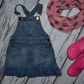 1 - 2 года 86 - 92 см обалденное платье сарафан джинсовый модной девочке