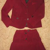 Бордовая школьная форма пиджак и юбка Р. 122-128