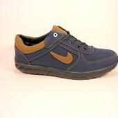 Синие мужские спортивные туфли-кроссовки. Размеры 40-45.