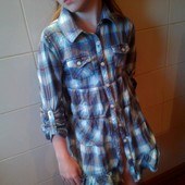 Рубашка-туника в клетку 134-140р