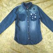 Классная рубашка джинсовая H&M 7-9 лет худи утеплена туніка