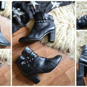 Стильные кожаные ботинки на каблуке,р-р 42