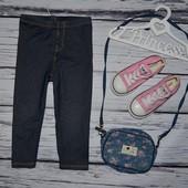 Лосины фирменные легинсы стрейчевые под джинс 1 - 2 года  90 см