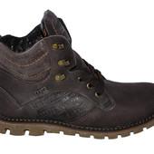 мужские кожаные ботинки  зима цвета Код:М  23