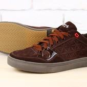 Код: 2303-2 Мужские спортивные туфли коричневые из натуральной замши