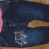 Фирменные джинсики 0-5мес в отл сос на х б подкладе