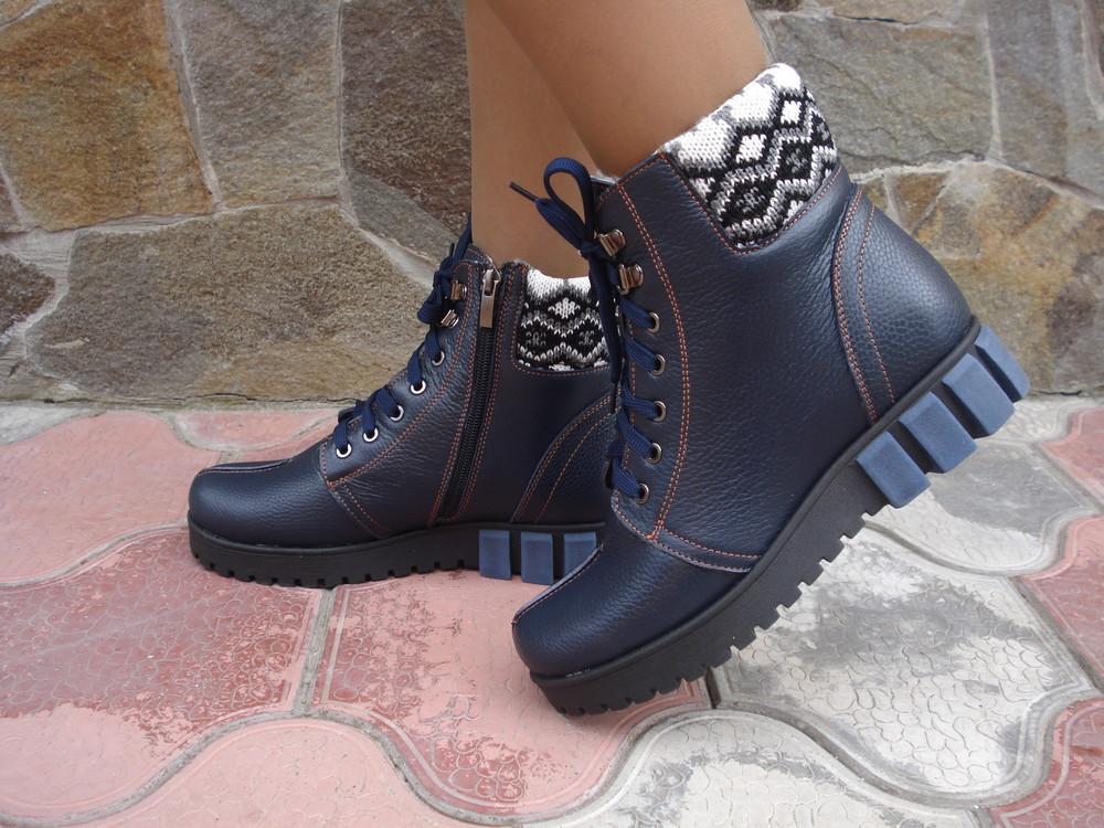 Ботинки женские зимние. s-27. натуральная кожа. синие фото №1