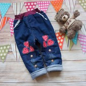 Теплые джинсы на синтепоне и х/б подкладе р.92 104 110