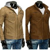 Кожаная карамельная мужская куртка