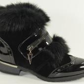 красивые ботинки с натуральной опушкой