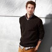 Вязаный мужской свитер 80% шерсть Тсм Tchibo р.L