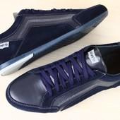 Кроссовки мужские синие, комбинированные: кожа и замша