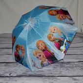 """Зонтик детский полуавтомат с изображением героев м/ф """"Холодное сердце"""" Frozen тканевый"""