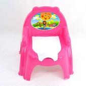 Горшок детский  со спинкой и крышкой, розовый