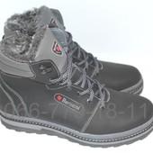 Мужские кожаные ботинки на зиму черно-серого цвета
