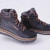 Кожаные мужские зимние ботинки черно-коричневого цвета