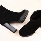 Ботинки демисезонные замшевые на устойчивом каблуке черные