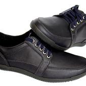 43 и 44 р Мужские мокасины туфли темно-синего цвета (БЛ-12с)