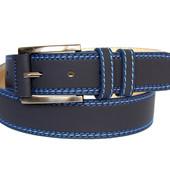 Мужской ремень пояс синего цвета эко-нубук (П-023)