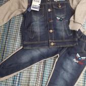 Моднячие теплые костюмы со вставками джинсовыми -3-8 лет