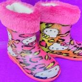 """Сапоги резиновые со съемным мехом, розовые на девочку, Китти, hello kitty,  ТМ """"Dual"""", размеры: 22,"""