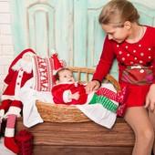 Новогодний костюм мисс Санта 0-3мес + подарок