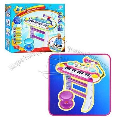Детское пианино 7235 музыкант с микрофоном и стульчиком фото №1