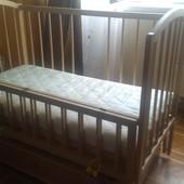 детская кроватка letto с маятником плюс матрас кокосовый двусторонний