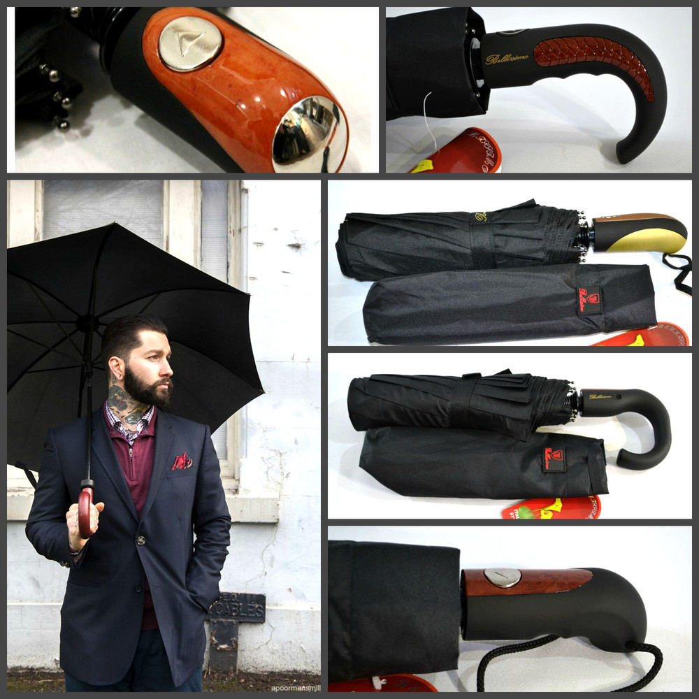 Качественный мужской зонт антиветер полуавтомат 10 спиц карбон, в чехле) только лучшие варианты! фото №1