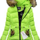 Женская асиметричная куртка пуховик цветной зимний