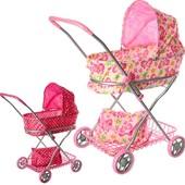 Кукольная коляска-люлька фирмы Melogo 9325 железная, классика, корзинка, сумка.