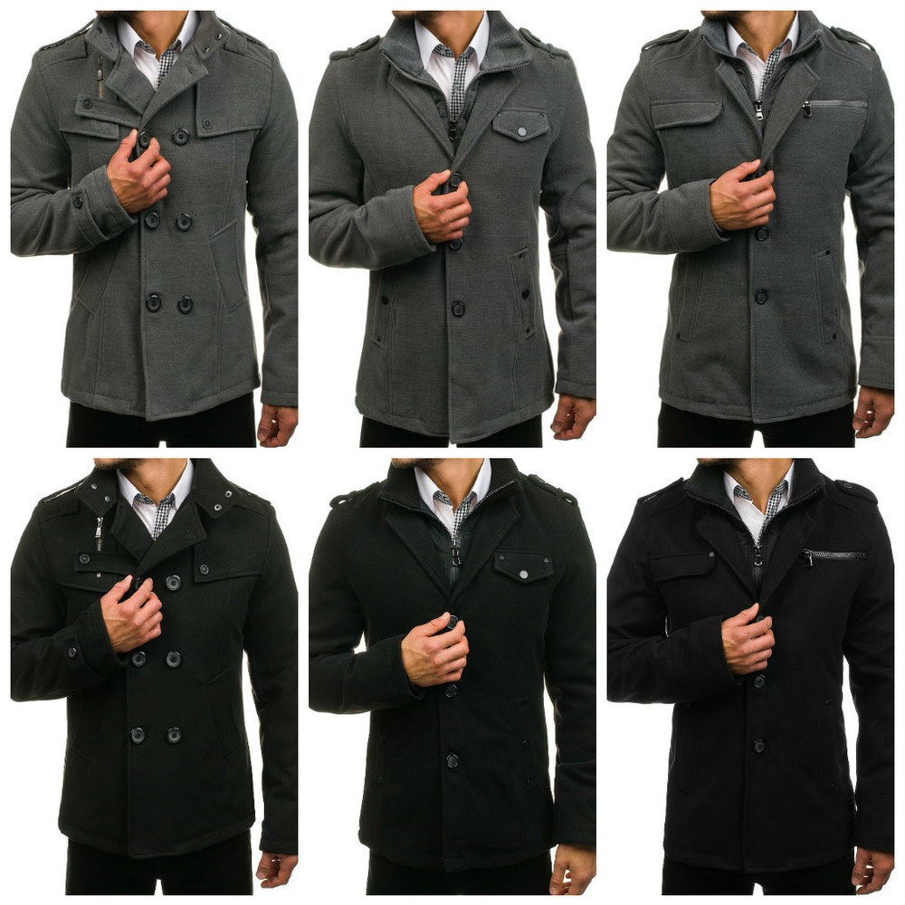 Серое и черное мужское пальто фото №1
