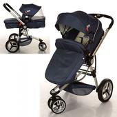 New! Универсальная коляска 2 в 1 Bambi 809-4, синий джинс
