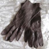 Перчатки коричневые женские кожаные маленький размер