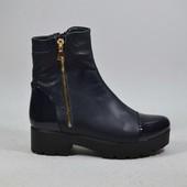 ботинки натуральная кожа демисезон/зимаМодель:1012-466, синий лак/темно синяя кожа