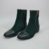 ботинки натуральная кожа деми/зима Модель:1064-466, зеленый замш/зеленый флотар