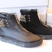 Женские осенние ботинки, кожа и замша