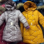 Зимнее теплое пальто для девочек 6-10 лет опт и розница