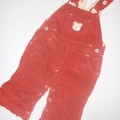 вельветовый комбинезон-штанишки на х.б подкладке на 3-6-9 мес
