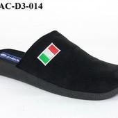 100-AC-D3-014  Тапочки мужские домашние Inblu Инблу цвет - черный, размеры 40-46,  материал - велюр