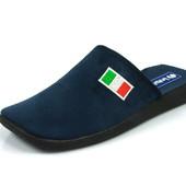100-AC-D3-004  Тапочки мужские домашние Inblu Инблу цвет - синий, размеры 40-46, материал - велюр